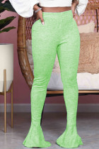Light Green Fashion Street Adult Polyester Solid Flounce Boot Cut Bottoms