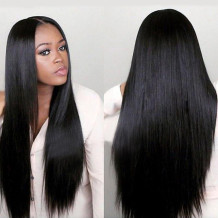 Black Fashion Casual Solid Long Straight Hair Wigs