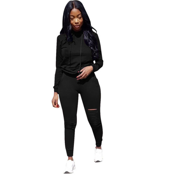Black Drawstring Mid Solid pencil Two-piece suit