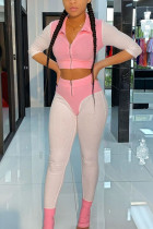 Pink Work Daily Polyester Solid Turndown Collar Long Sleeve Short Two Pieces