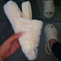 Cream White Fashion Casual Round Comfortable Shoes