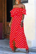 Red Sexy Casual Dot Print Backless Off the Shoulder Irregular Dress Dresses