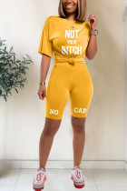 Yellow Polyester Fashion Active Letter Two Piece Suits pencil Short Sleeve Two Pieces