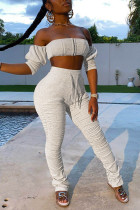 Grey Polyester Fashion Sexy adult Patchwork Solid backless Draped Bandage Two Piece Suits pencil Nine Sleeves Two Pieces