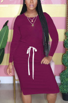 purple Fashion Casual Adult Polyester Solid Split Joint Draw String O Neck Long Sleeve Knee Length T-shirt Dress Dresses
