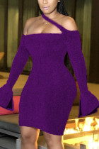 purple Fashion Sexy Solid Backless Halter Dresses