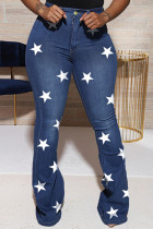 Blue Casual Sweet Print The stars Buttons Pants High Waist Boot Cut Denim