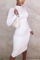 Cream white Street Solid Split Joint O Neck Pencil Skirt Dresses