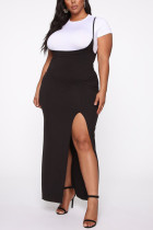 Black Sweet Polyester Solid O Neck Plus Size