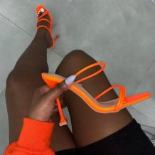 Tangerine Red Sexy Casual Cross Straps Solid Color Opend Out Door Shoes