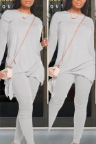 Grey Polyester Fashion Casual adult Ma'am Patchwork Solid Two Piece Suits pencil Long Sleeve Two Pieces