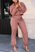 Pink Casual Polyester Solid Long Sleeve Regular Sleeve Two Pieces