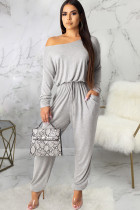 Grey Sexy Solid Polyester Long Sleeve one shoulder collar