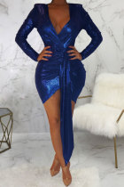 Blue Polyester Sexy Fashion Cap Sleeve Long Sleeves V Neck Asymmetrical Mini Solid Patchwork asymmetrical