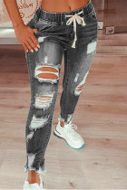 Grey Fashion Casual Solid Ripped Mid Waist Regular Jeans