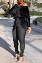 Black Fashion Print Bateau Neck Jumpsuits