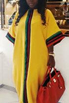 Yellow Fashion Sexy Cap Sleeve 3/4 Length Sleeves O neck Straight Floor-Length asymmetrical Casual Dresses