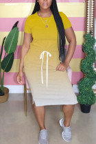 Yellow Polyester Fashion Street Red Black Blue Green Orange Yellow rose red purple Cap Sleeve Short Sleeves O neck Step Skirt Mid-Calf Ombre Solid Dresses