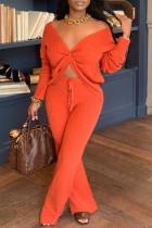 Tangerine Elegant Polyester Solid V Neck Long Sleeve Regular Sleeve Two Pieces