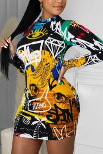 Yellow Work Daily Print Split Joint O Neck Pencil Skirt Dresses
