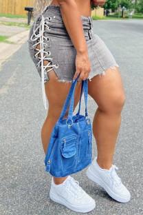 Grey Sexy Casual Solid Strap Design Mid Waist Regular Skirt