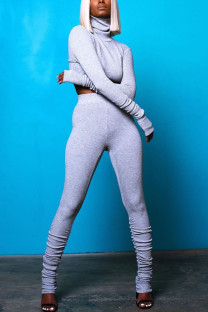 Grey Casual Solid Fold Turtleneck Long Sleeve Two Pieces