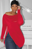 Red Polyester Asymmetrical Collar Long Sleeve Patchwork Zippered Solid asymmetrical