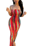 Multi-color Sexy Print Tie-dye Backless Strapless Pencil Skirt Dresses