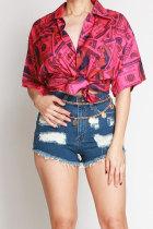 Red Nylon Turndown Collar Short Sleeve Patchwork Print Slim fit Button Tops