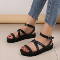 Black Fashion Casual Round Out Door Leather Shoes