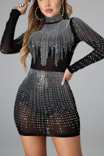 Black Sexy Split Joint Half A Turtleneck Wrapped Skirt Dresses