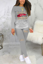 Grey Sexy Print Long Sleeve Two Pieces