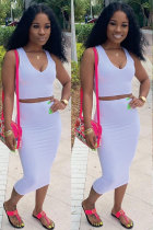 White Polyester Fashion Sexy Patchwork Solid A-line skirt Two-Piece Dress