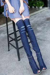 Deep Blue Fashion Sexy Make Old Pointed Shoes