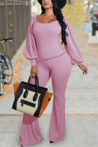 Pink Fashion Casual Solid Basic O Neck Long Sleeve Two Pieces