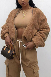 Brown Daily Solid O Neck Outerwear