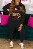 Black Sexy Print O Neck Long Sleeve Two Pieces