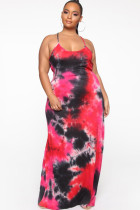 Red Polyester Fashion Sexy adult Slip backless Print Tie Dye