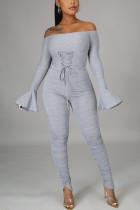 Grey Sexy Solid Bandage Slit Fold Bateau Neck Regular Jumpsuits