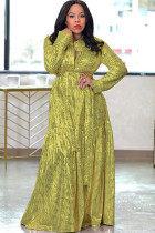 Yellow Polyester England Cap Sleeve Long Sleeves Turndown Collar Swagger Floor-Length Solid