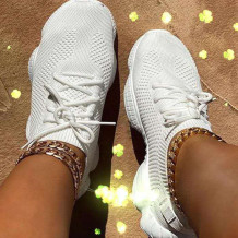 White Casual Sportswear Bandage Round Sport Shoes