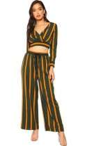 Green Striped Mid Waist Two-piece suit