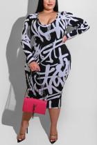 White Fashion Casual Plus Size Print Basic O Neck Printed Dress