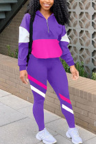 purple Casual Striped Print Zippered Split Joint Mandarin Collar Long Sleeve Two Pieces