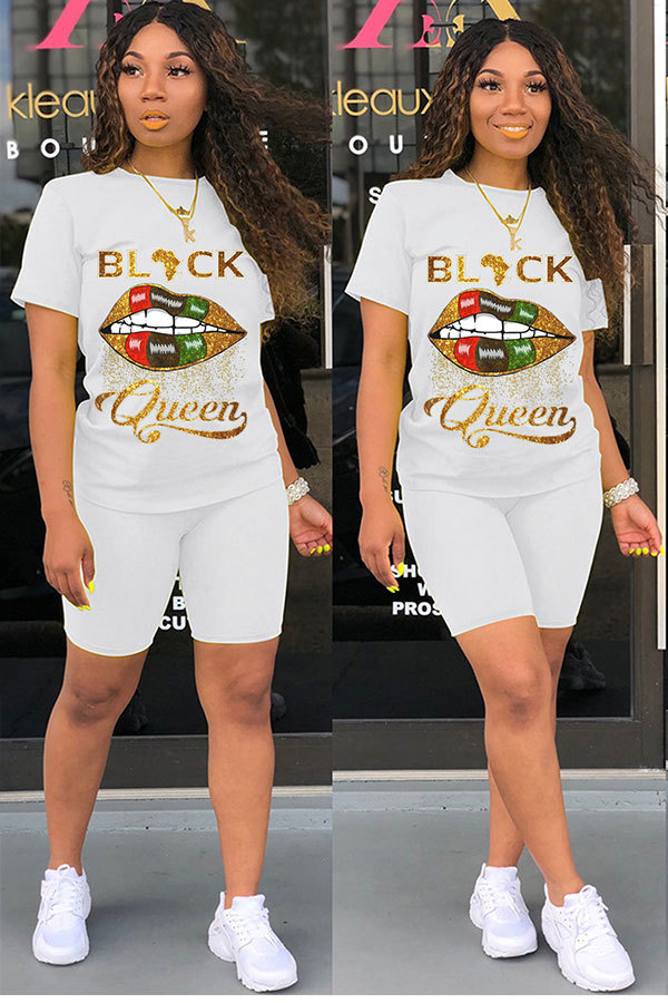 White Polyester Fashion Casual adult Letter Patchwork Two Piece Suits Lips Print Straight Short Sleeve Two Pieces