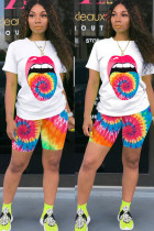 Orange Polyester Fashion Sexy adult Ma'am O Neck Patchwork Print Tie Dye Two Piece Suits Stitching Plus Size