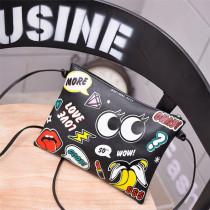 Black Fashion Casual Print Crossbody Bag