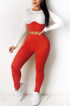 Red Sexy Casual Polyester Pit Article Fabrics Patchwork Solid Split Joint O Neck Long Sleeve Regular Sleeve Short Two Pieces