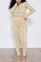 Apricot Casual Sportswear Polyester Fiber Patchwork Solid Split Joint Pants Zipper Collar Long Sleeve Regular Sleeve Short Two Pieces