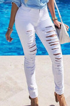 White Fashion Casual Solid Ripped Mid Waist Skinny Jeans